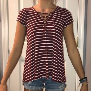 Hollister striped lace up T-shirt